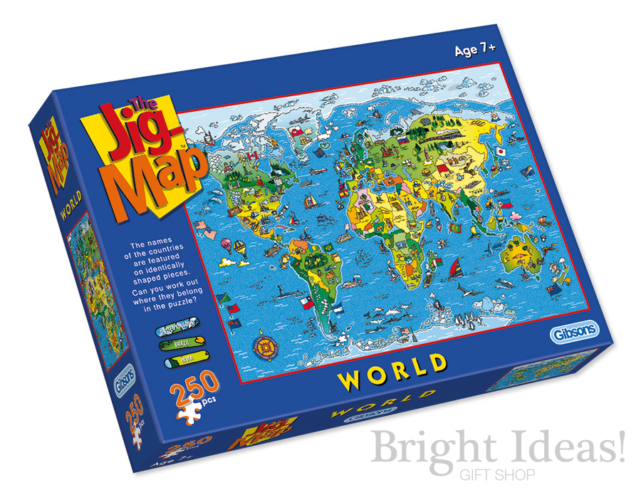 World Jig Map - 250 Piece Childrens Jigsaw Puzzle by Gibsons (G1050)