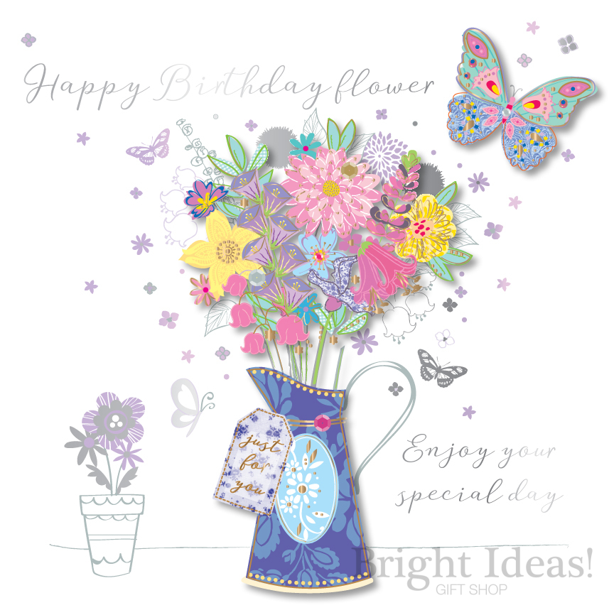SDE30129 BIRTHDAY FLOWER CARD FLOWERS BUTTERFLY