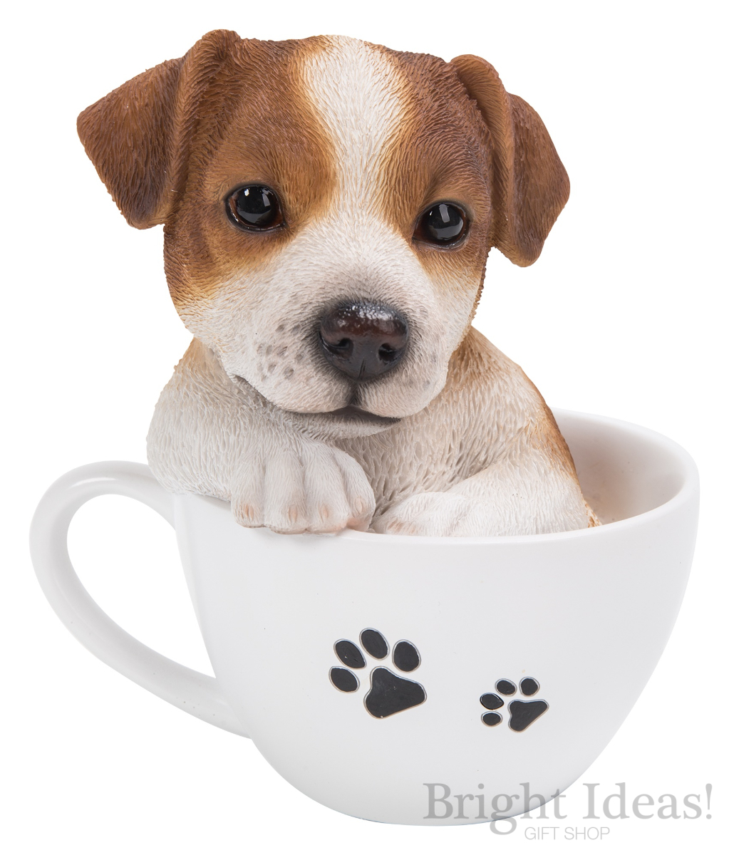 jack russell puppy dog in teacup pet pals by vivid arts tp jack f