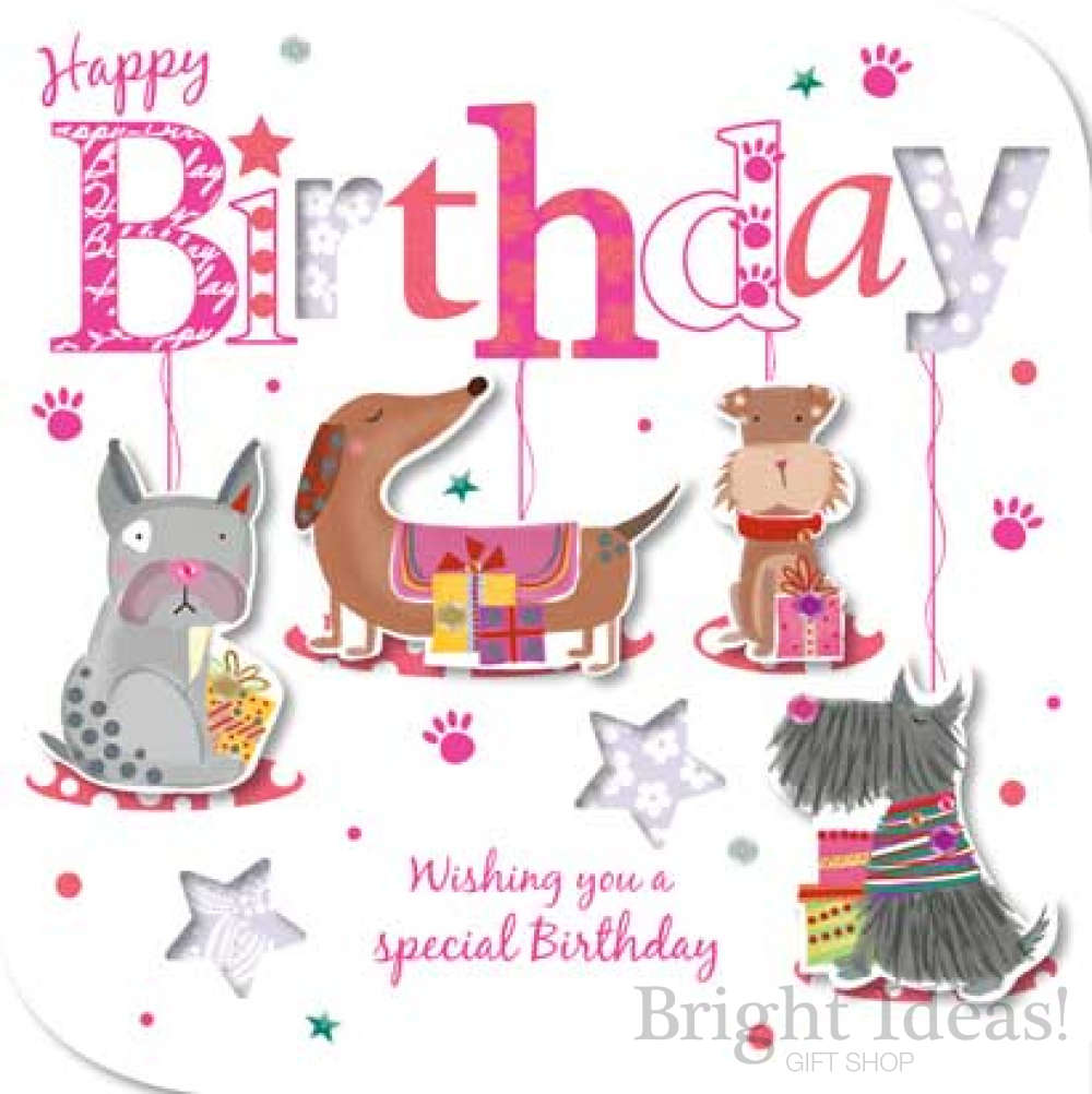 MIE30013 Dogs Birthday Card Dachshund Scottie Spec