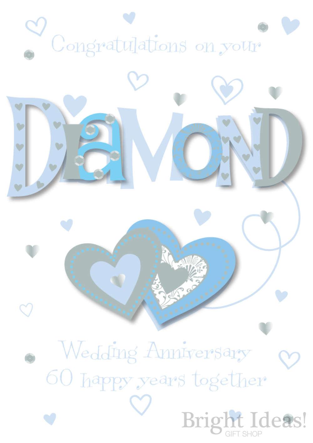 60th Hearts Diamond Wedding Anniversary Card By Ling Design