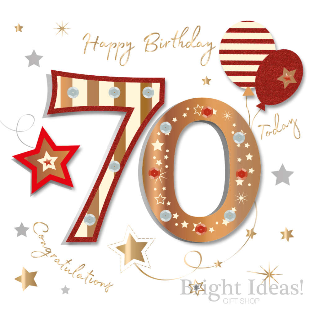70th Birthday Card Congratulations 70 Today By Ling Design Mwer0017 70
