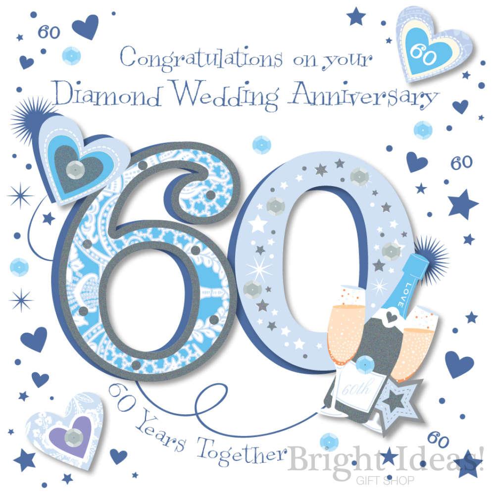 60th Diamond Wedding Anniversary Card By Ling Design Mwer0035 60
