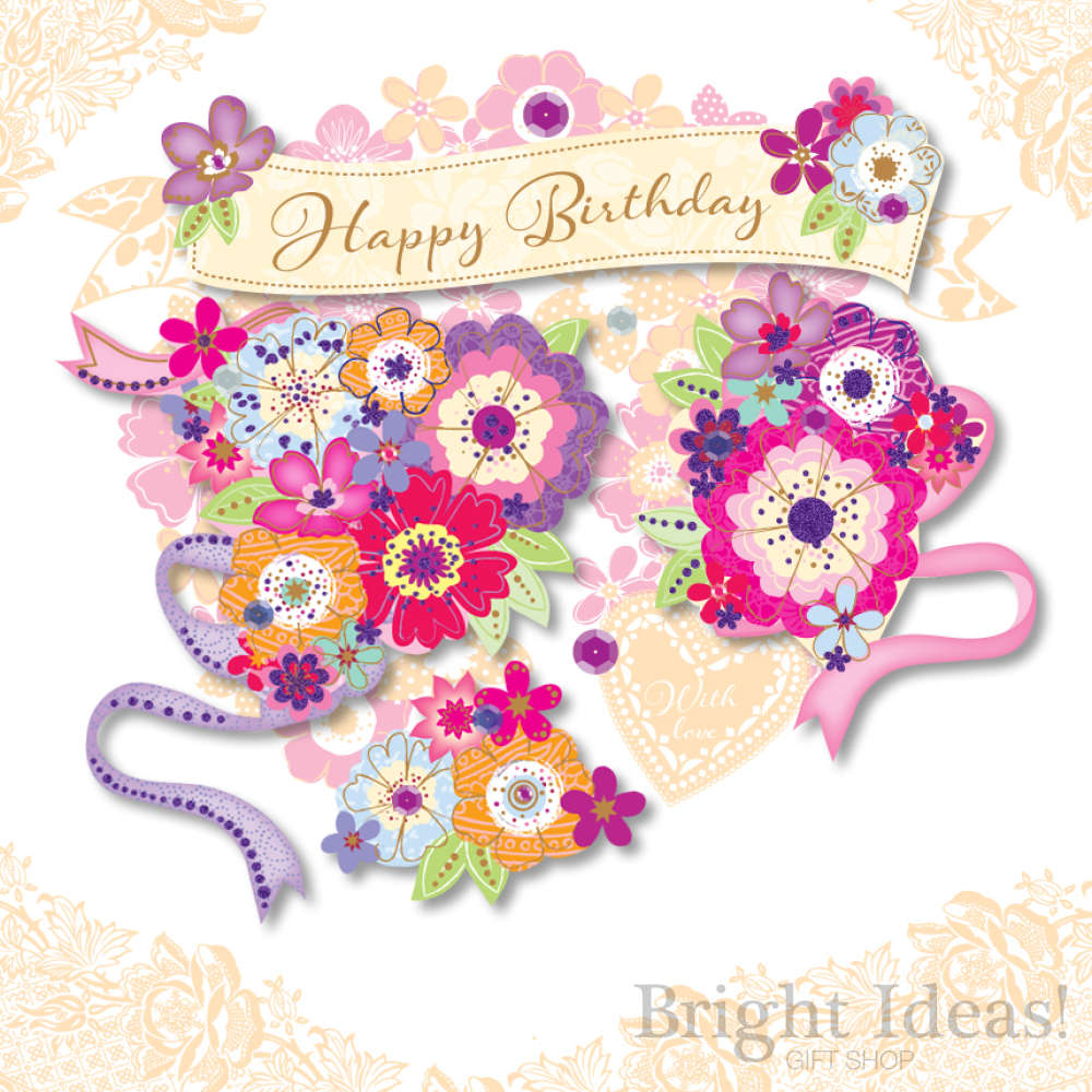 Happy Birthday Flower Floral Bouquet Birthday Card By Ling Design Sde30072