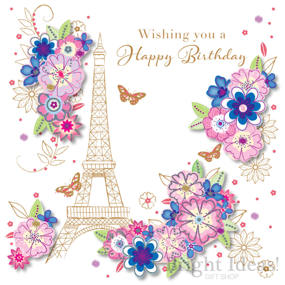 SDE30084 Eiffel Tower Birthday Card Flowers Stardu