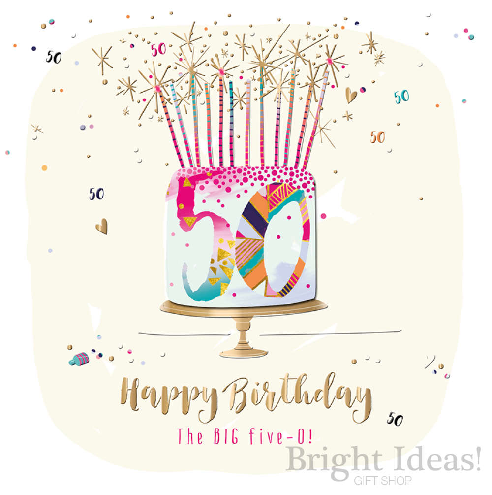 SFE30014 50 50th Birthday Card Cake Candles Talkin