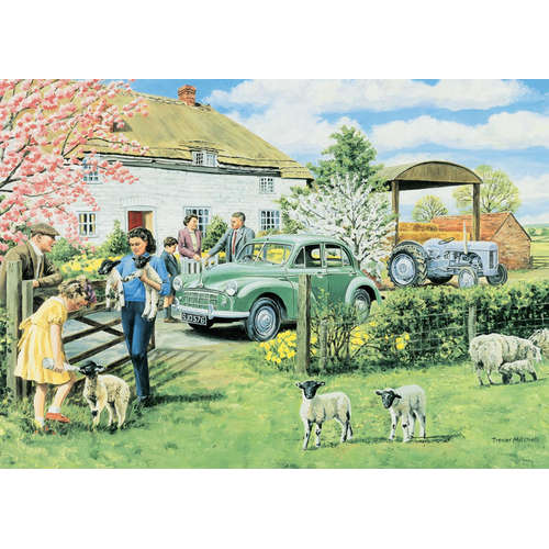11072 Spring Lambs jigsaw puzzle morris minor trac
