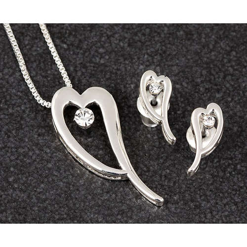 279542 crystal heart hearts necklace earrings silv