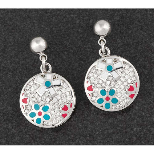 284252 flower hand painted earrings platinum equil
