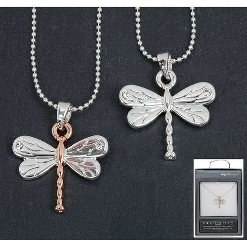 59335 dragonfly necklace silver rose gold equilibr
