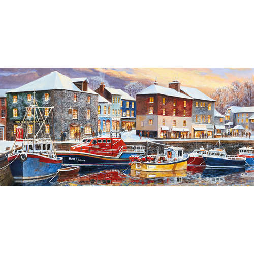 G4039 Padstow in winter harbour gibsons panoramic