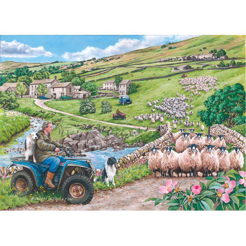 Round up house of puzzles jigsaw puzzle sheep farm