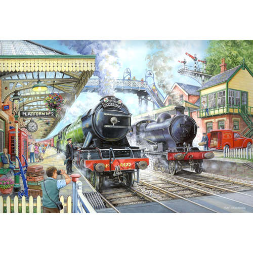 Train now standing house of puzzles jigsaw puzzle