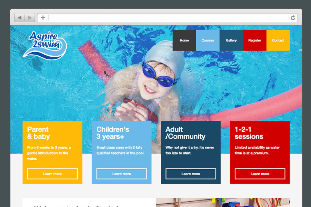 Aspire2swim - Website design