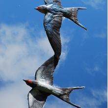 Bronze Swallow Mobile Sculpture by JOEL