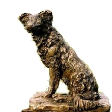 Collie Dog on Guard  bronze by JOEL