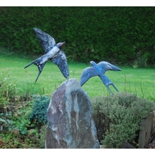 Obelisk water feature Bronze Swallows by JOEL